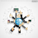 Vector Businessman using modern technology Communicate for Success with icon, world, flat design. Businessman using modern technology Communicate for Success Stock Photography