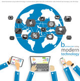 Vector businessman using modern technology to communicate with the global trade of mobile phones, tablet, icons, flat design. Businessman using modern Stock Photo