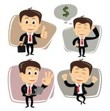Vector businessman in various poses Stock Image