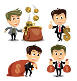 Vector businessman in various poses Stock Photos