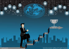 Vector businessman walking on the path of success with the light bulb buildings and icons flat design. Vector businessman walking on the path of success with the Stock Image