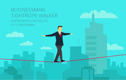 Vector businessman walking tightrope against the. Brave businessman walking tightrope against the background of the panorama city. Symbolic crisis picture Royalty Free Stock Images