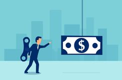 Vector of a businessman with a wind up key on his back walking towards a dollar banknote vector illustration