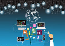Free Vector Businessman With Communications Technology Worldwide With Mobile, Tablet, Laptop Computers, Lamps And Various Icons Flat De Royalty Free Stock Image - 90200926