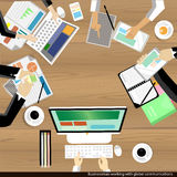 Vector Businessman working and brainstroming with global communications wooden table Stock Images