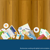 Vector Businessman working with global communications Stock Images