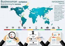 Businessman workplace Brainstorming for success desing modern Idea and Concept Vector illustration Infographic template with icons royalty free illustration