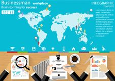 Businessman workplace Brainstorming for success desing modern Idea and Concept Vector illustration Infographic template with icons stock illustration