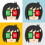 Vector of Businessman with yes or no sign in eyes, Illustration EPS10 Royalty Free Stock Images