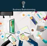 Vector Businessmen brainstorm on the table Stock Photo