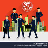 Vector businessmen with building and wold map Royalty Free Stock Photography