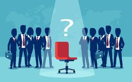 Vector of businessmen and businesswomen standing with empty chair in the middle vector illustration