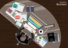 Vector Businessmen think a mobile tablet computer files, diaries, pencils, paper and a cup of coffee flat design Royalty Free Stock Photos
