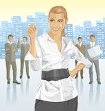 Vector businesswoman and silhouettes of business people Stock Photo