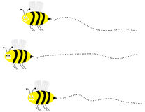 Vector Busy Bees. Vector set of 3 bumble bees flying Stock Images