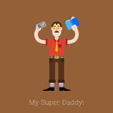 Vector Busy multitasking man Royalty Free Stock Photography