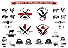 Vector Butchery Logo Templates, Labels, Icons And Design Elements Royalty Free Stock Image