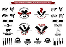Vector Butchery Logo Templates, Labels, Icons and Design Elements Royalty Free Stock Images