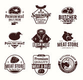 Vector butchery and meat logo, icons and design elements Royalty Free Stock Photo