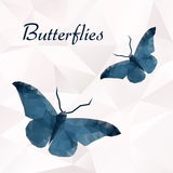 Vector butterflies blue geometric. Abstract insect. Polygonal design Royalty Free Stock Image