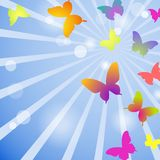 Vector butterflies on a blue sky background. EPS 10. Vector butterflies on a blue sky background Royalty Free Stock Images