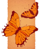 Vector butterflies on a brown background. With texture of paper Stock Photo