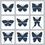 Vector butterflies icons set Royalty Free Stock Image