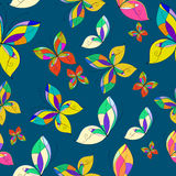 Vector butterflies seamless pattern, blue background. Colorful Stock Photo