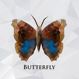 Vector butterfly brown geometric. Abstract insect. Polygonal design Royalty Free Stock Photos