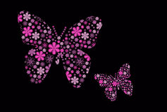 Vector butterfly with flower texture Royalty Free Stock Photo