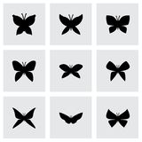 Vector butterfly icon set. On grey background Royalty Free Stock Image
