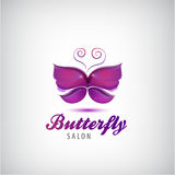Vector butterfly logo. Spa salon icon Royalty Free Stock Photography