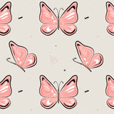 Vector butterfly pattern. Nature insect background. Kids summer illustration. Natural spring pink print Stock Photos