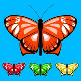 Vector butterfly set 13. Watercolor vector butterfly set for children coloring book. Colors butterflies isolated on bright background for colored sand picture stock illustration