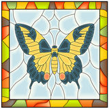 Vector of butterfly in stained-glass window. Royalty Free Stock Image