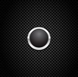 Vector Button on Carbon Fiber Background Stock Photography