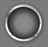 Vector Button on Carbon Fiber Background. Royalty Free Stock Images