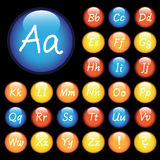 Vector button with hand drawing alphabet Stock Image