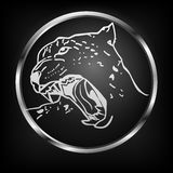 Vector button with leopard. Royalty Free Stock Photography