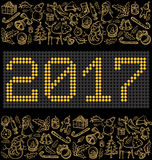 Vector button numbers 2017. And Christmas, and New Year objects Royalty Free Stock Image