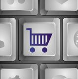 Vector button with shopping cart Royalty Free Stock Photos