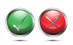 Vector button sign check correct and incorrect on white background Stock Images
