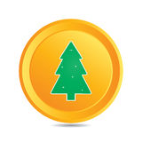 Vector  button (web element) with christmas tree Royalty Free Stock Images