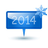 Vector button. Vector button 2014 (web element) with snowflake and shadow Stock Photo