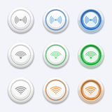 Vector button with wifi or wireless icon Royalty Free Stock Image