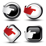 Vector buttons with curled hand Royalty Free Stock Images