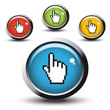 Vector buttons with cursor of hand Royalty Free Stock Image