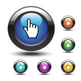 Vector buttons with cursor of hand Royalty Free Stock Images