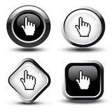 Vector buttons with cursor of hand Royalty Free Stock Photography