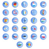 Vector buttons with flags of the states of the Eur. Opean union. EPS10 Royalty Free Stock Image